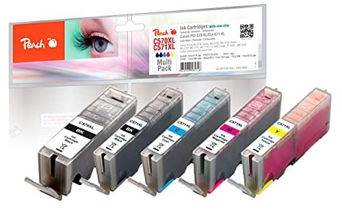 Peach C570/571 Spar Pack Druckerpatronen XL (BK, PBK, C, M, Y) ersetzt Canon PGI-570XL, CLI-571XL für z.B. Canon Pixma TS 5050, Canon Pixma TS 5051, Canon Pixma MG 5750, Canon Pixma MG 6850
