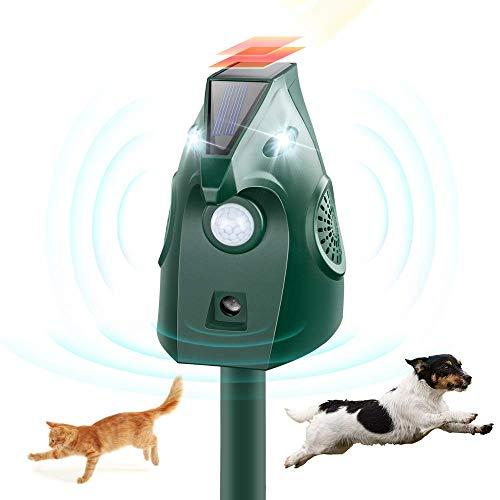 SOYAO Repelente Gatos para Jardin Energía Solar, Ultrasonidos Ahuyentar Palomas Exterior, Ahuyentador Gatos USB Recargable con Flash LED