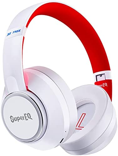 Hybrid Active Noise Cancelling Headphones-SuperEQ S1 Bluetooth 5.0 Over Ear Wireless Wired Headphones with Ambient Mode, 45H Playtime, Hi-Fi Deep Bass for Smart Phones PC Travel Work (White)