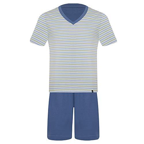 Pijama Lupo AM Curto - Gola V - Listrado masculino Azul Listrado XG