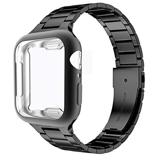 Miimall Compatible con Apple Watch Series 6/SE/5/4 40 mm pulsera con funda de TPU ultra fina premio acero inoxidable metal correa de repuesto para Apple Watch 40 mm – Negro