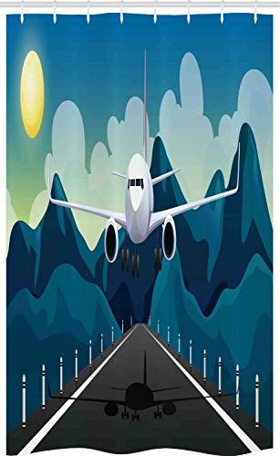 ABAKUHAUS Flughafen Schmaler Duschvorhang, Flugzeug Abheben Grafik, Badezimmer Deko Set aus Stoff mit Haken, 120 x 180 cm, Mehrfarbig