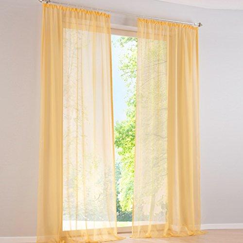 HongYa 1er-Pack Uni Gardine Transparenter Voile Schal Vorhang mit Kräuselband H/B 225/145 cm Sonnengelb