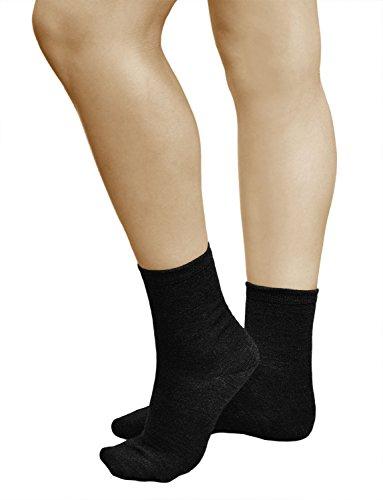 vitsocks 3 PAAR Damen Wollsocken mit 80% MERINO WOLLE warm weich atmungsaktiv, 39-42, schwarz