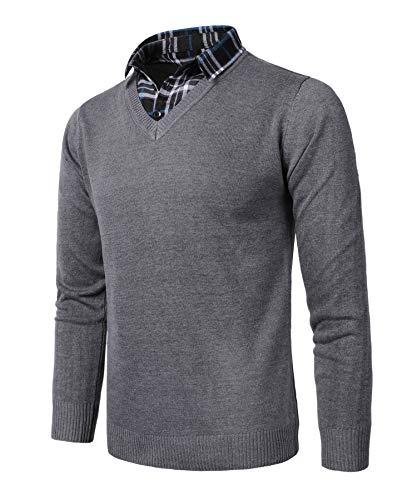 KTWOLEN Herren 2 in 1 Hemd Kragen Langarm Strickpullover V-Ausschnitt Pullover mit Hemdkragen Mock Hemd Strickjacke Einfarbig (Dunkelgrau, XL)