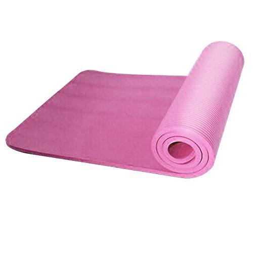 Dire-wolves - Tappetino per yoga, 10 mm, super morbido, extra spesso, antiscivolo, per esercizi, fitness, palestra, pilates, Donna, rosa, 183x61x1cm