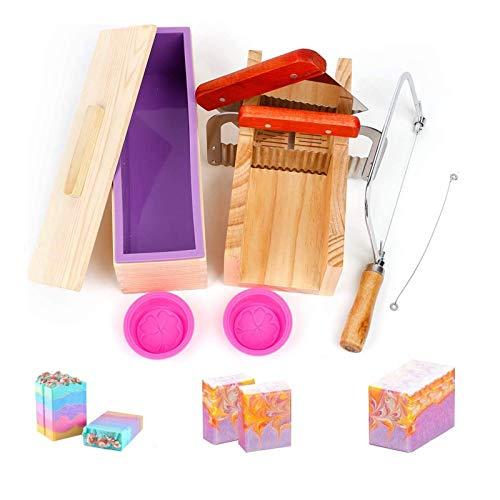 Hotoolme Juego de moldes de silicona para jabón de madera, cortador de jabón ajustable, fabricación de jabón, kit de jabón hecho a mano, molde rectangular de silicona con caja de madera