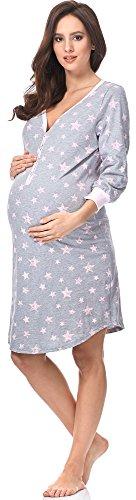 COMETA   Nachthemd Damen Geburt Stillnachthemd Mutterschaft Schwangerschaft Nachtwäsche Umstandsmode mit Durchgehender Knopfleiste geburtshemd für Schwangere (L, Rosa Grau) (S, Melange/Rosa)
