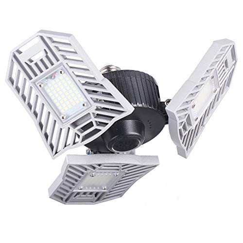 LED Garage Lights, 60W Garage Lighting, E26/E27 6000LM High Bay Deformable LED Garage Ceiling Lights with Trilights Garage Light, 6000K Daylight LED Shop Lights for Garage Basement(No Motion Sensor)