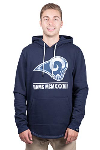 Ultra Game NFL Los Angeles Rams Mens Embroidered Fleece Hoodie Pullover Sweatshirt, Team Color, Medium