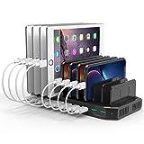 Alxum USB Multi Mobile Ladestation für mehrere Geräte mit 2 QC 3.0-Anschlüssen, 10Ports 96W Ladestation Organizer mit abnehmbaren Trennwänden (Schwarz)
