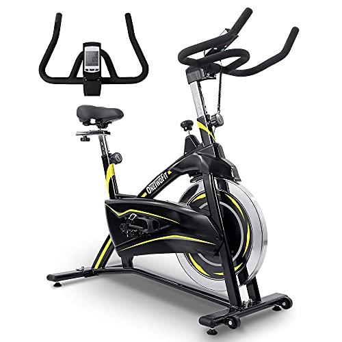 ONETWOFIT Bicicleta estática, magnética para interiores bicicleta estática ajustable con monitor LCD para entrenamiento cardiovascular en el hogar 28.7 LBS / 13KG Volante OT315