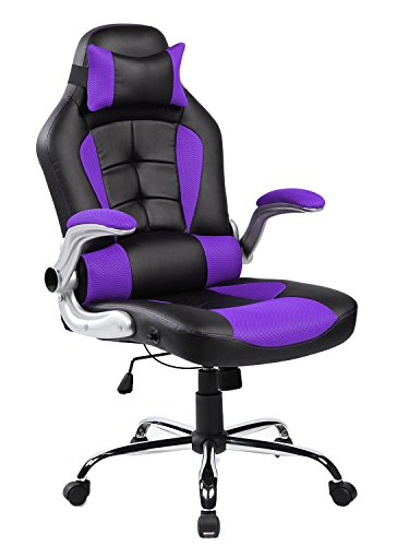 Merax Ergonomic Gaming High Executive Office Mesh Racing Swivel Computer Desk PC Lumbar Back Support Napping Chair (Purple)
