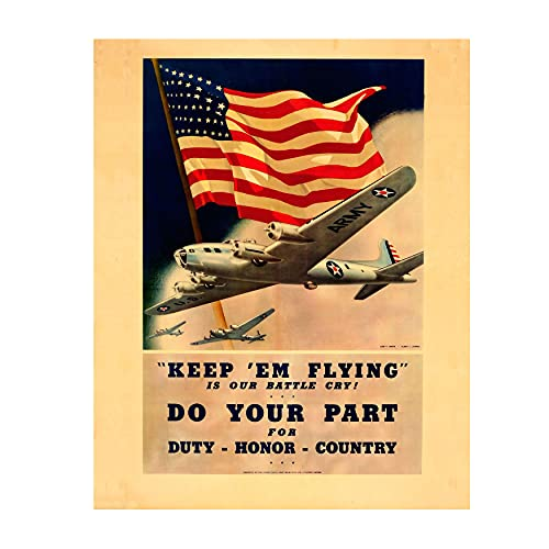 'Keep 'Em Flying-Do Your Part'- U.S. Air Force Vintage Poster Print- 8 x 10' Wall Decor-Ready To Frame. Antique Recruitment Poster. Retro Military Decor for Home-Office. Perfect Gift for All Airmen.