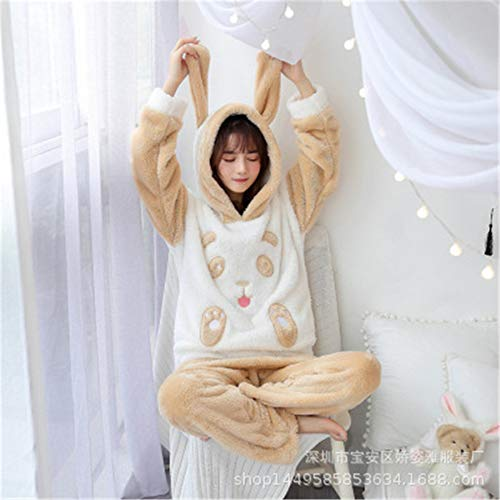DUJUN Pijama de Franela para Mujer, Albornoces Gruesos de Invierno, Trajes de camisón con Capucha de Dibujos Animados, Linda Ropa para el hogar, una Variedad de Estilos, A22 XL