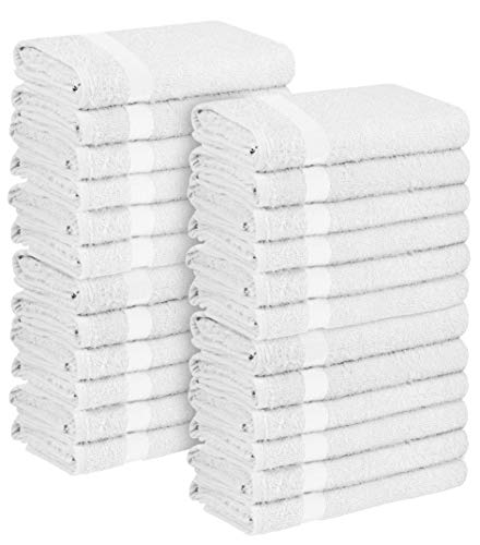 Zoyer Salon Towels (White, 24 Pack)- 16 x 27 Inch Bleach Proof Towel for Gym, Salon, Spa - Super Absorbent Cotton Facial Towel for Exercise, Bathroom.