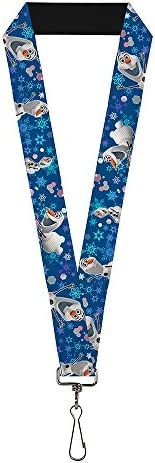 Buckle Down Unisex Adult s Lanyard 1 0 Frozen Olaf Poses Snowflakes Blues Multicolor One Size product image