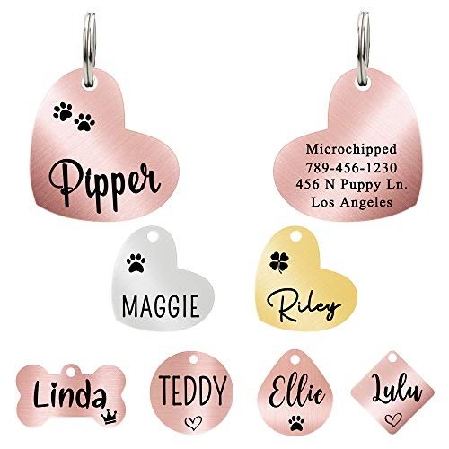 Ultra Joys Dog ID Tag, Custom Dog Tag, Personalized Dog Tag, Dog Tag, Pet ID Tag, Dog Tag for Dogs, Brushed Stainless Steel Heart Dog Tag Rose Gold Small
