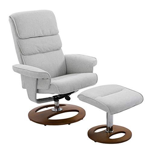 HOMCOM Recliner Chair Ottoman Set 360° Swivel Sofa Stool Modern Soft Thick Padding Wood Base Grey