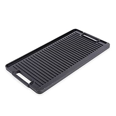 Artisanal Kitchen Supply Pre-Seasoned Cast Iron Double Burner Grill/Griddle in Black, Oven Safe up to 500º F, Ultra Durable, Reversible