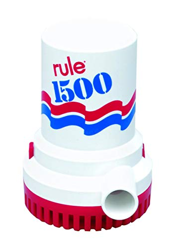 Rule 02 Marine Bilge Pump, 1500 GPH, Non-Automatic, 12 Volt,Red/White/Blue