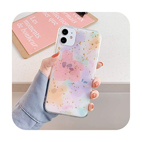 Caja de teléfono con diseño de flores doradas con purpurina para iPhone 11 Pro Max XR XS Max X XS 7 8 Plus SE2020 Patrón geométrico suave epoxi cubierta trasera T4-para iPhone XR