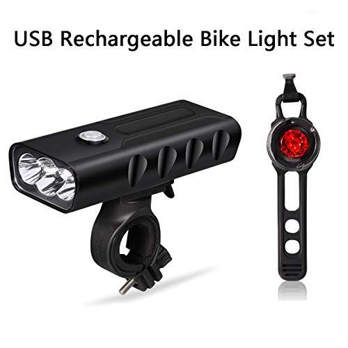 Lenlun Juego de Luces para Bicicleta, multifunción, 500 LM, Recargables, USB, Faro Delantero Impermeable y 50 LM, Luces traseras de Bicicleta LED, 3 Modos de iluminación