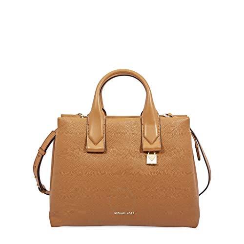 """100% Pebbled Leather; Gold-tone hardware Measures 13.5""""W X 10""""H X 5.5""""D Adjustable Strap: 20""""-22""""; Handle Drop: 4"""" Interior Details: Back Zip Pocket, 2 Back Slip Pockets, 4 Front Slip Pockets Zip Fastening"""
