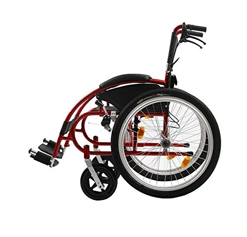 Living Equipment Silla de rehabilitación médica Silla de ruedas Deporte Ocio Sillas de ruedas 13Kg Portátil Plegable Cómodo Reposabrazos Columpio Reposapiernas 115Kg Soporte de carga Asiento de 46