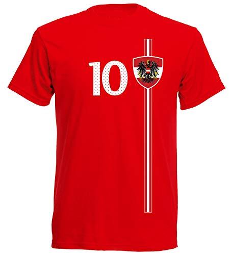 Österreich Austria Herren T-Shirt Nummer 10 Trikot Fußball Mini EM 2016 T-Shirt - S M L XL XXL - rot NC ST-1 (M)