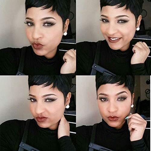 HOTKIS Human Hair Short Pixie Wigs Brazilian Hair Short Hair Wigs Boy Cut Wigs for Black Women 4inch Black M wig cap
