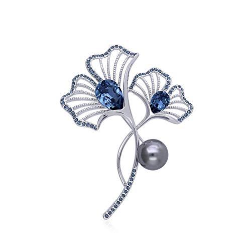broche alfileres damas niñas Fashion Pearl Broches Elegante broche de cristal accesorios de cuello blanco multifuncionales Pin de solapa for la chaqueta Vestido de bufanda o chales Broches y alfileres