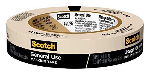 Scotch General Use Masking Tape for Basic Painting, 0.94 inches by 60 yards, 2025, 1 roll