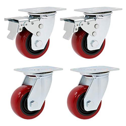4 ruedas giratorias para servicio pesado ruedas de poliuretano para muebles ruedas de poliuretano ruedas de placa industrial ruedas giratorias rodillos de transporte de banco de trabajo