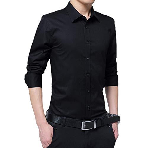 Camisa de Vestir de Manga Larga para Hombre, sólida, Ajustada, con Tendencia a la Moda, Todo fósforo, Informal, de Negocios, Formal, con Botones, Camisas con Botones XXL