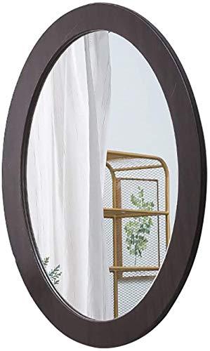 Espejo de Pared Vanidad montada en la Pared Oval PVC Maquillaje Enmarcado para el vestíbulo del baño del baño USA para Decorar la habitación (Color : Black, Size : 40CMx60CM)