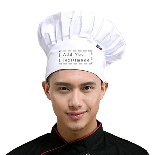 Personalized Custom Chef Hat Adjustable Elastic Baker Kitchen Cooking Chef Cap (White)