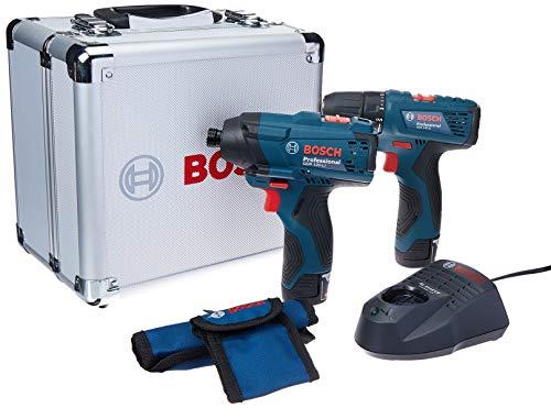 Bosch 06019F00E4-000, Combo Parafusadeira/Furadeira com Parafusadeira de Impacto a Bateria de 12V com Maleta de Alumínio, Azul