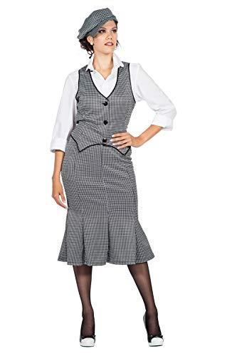 Disfraz de Peaky Blinders de los aos 20 para mujer, color blanco y negro, con falda corredera The Roaring Twenties 20's, talla: 40