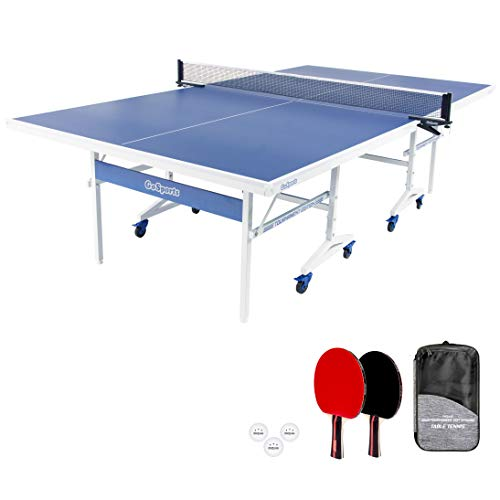 GoSports Indoor Tournament Table Tennis Game Set | Includes Full Size Tournament Table with Net, 2 Paddles, and 4 Balls with Carrying Case, Blue