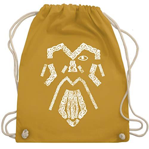 Shirtracer Nerds & Geeks - Wikinger Odin Vintage - Unisize - Senfgelb - Nerd - WM110 - Turnbeutel und Stoffbeutel aus Baumwolle