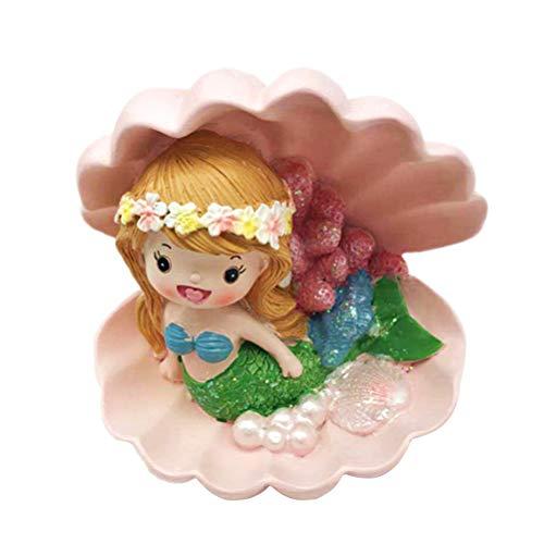 Amosfun Meerjungfrau in Muschel Kuchen Topper Kuchendeko Kinder Geburtstag Hawaii Party Dekoration (zufällige Farbe)