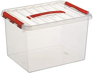 Sunware Q-Line Boîte de Rangement, Rouge Transparent, 22 Litre
