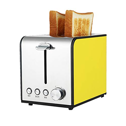 Peaceip Home Breakfast Toaster, 6-Gang-Backmodus 2-Slot-Brotbackautomat - Vollautomatische Multifunktions-Brotbackautomat (Farbe : Gelb)