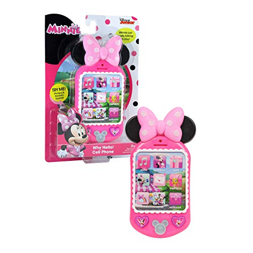 Minnie Bow-Tique Why Hello Cell Phone with Lights and Realistic Sounds for Kids, Features Minnie Mouse Phrases , Pink , Original version