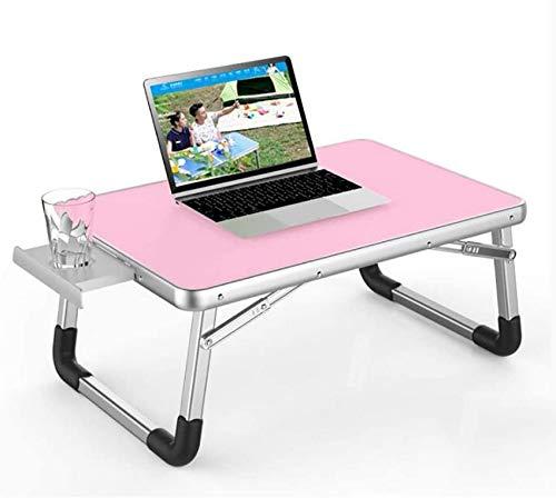 YVX Klappschreibtisch, Bett-Laptoptisch, Wohnheim/Schlafzimmer aus Aluminiumlegierung mit Getränkehalter, Schreibtisch zu Hause (Farbe: F)