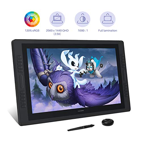HUION 2.5K Kamvas Pro 24 Graphic Tablet with Screen, Graphic Drawing Monitor with Full Laminated Anti-glare Screen, 120% sRGB, Newest 8192 Levels Battery-free Pen PW517 with Tilt Function, 23.8 Inches