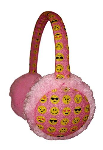Kids Plush Icon Face Earmuffs Ear Warmers Winter Ear lap (Pink All Over)