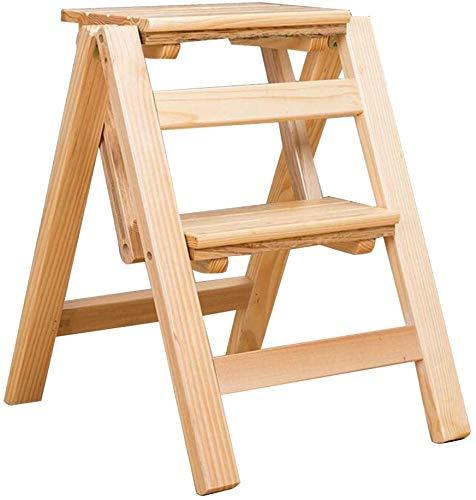Yunteng barkruk trapladder houten ladder kruk opvouwbare trapschuim 2 niveaus voor kinderen volwassenen licht en thuis keuken bibliotheek loft ladder rek - natuurlijk, capaciteit 150 kg