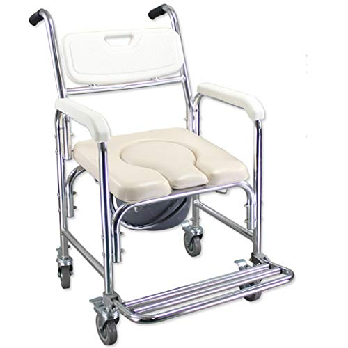 ZINRK Ältere WC Stuhl, Transport Rollstuhl for Behinderte, Senioren Aluminiumlegierung Rohr-Licht und rostet Nicht Umweltschutz PP Anti-Rutsch-Handlauf 4-Zoll-Universal-Bremsrad